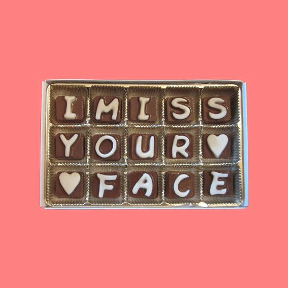 I Miss Your Face Cubic Chocolate Letters Long Distance Love