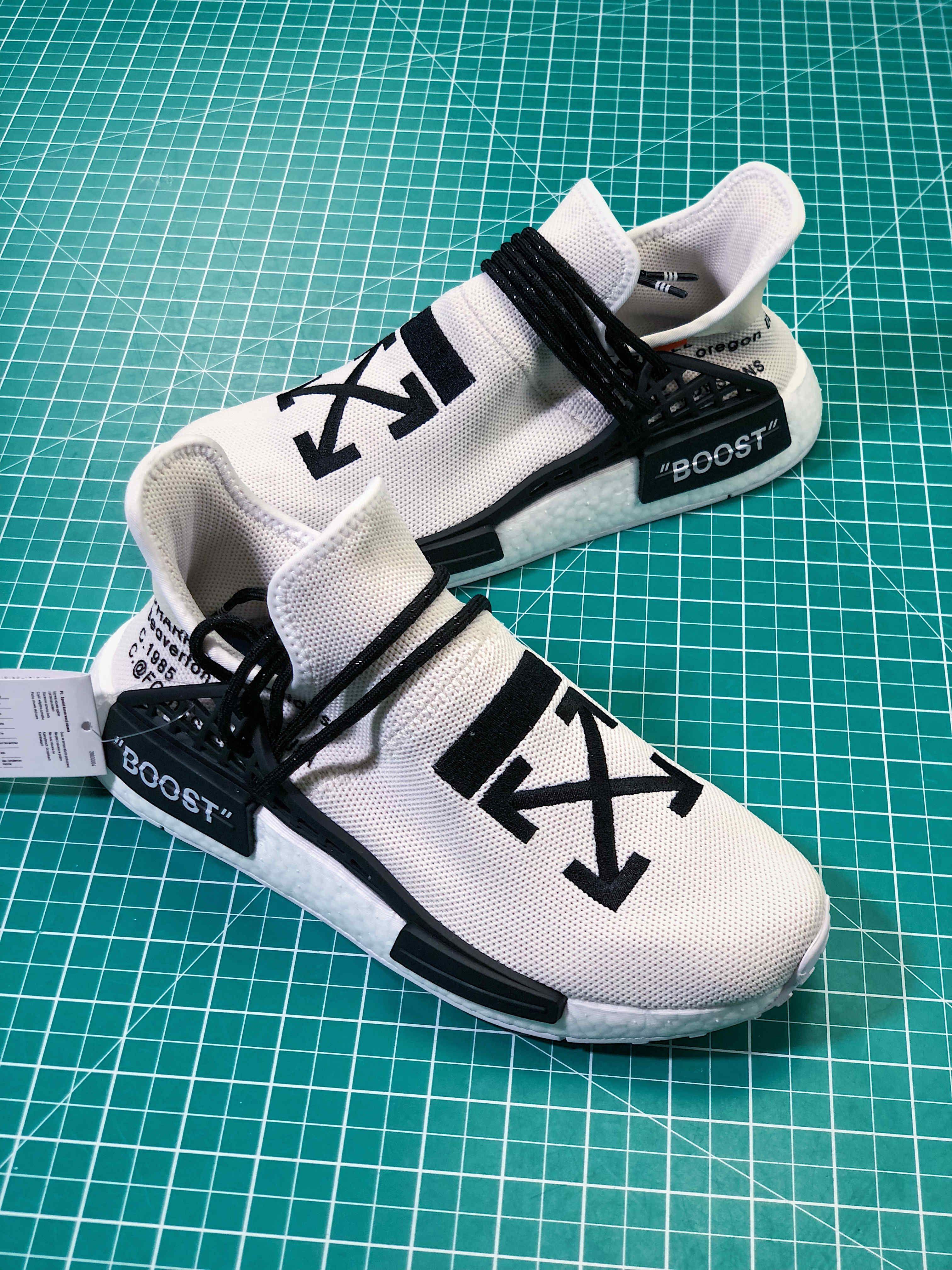 9fcb06a7af1a Custom Off-White x Adidas NMD HU Pharrell Human Race White Black ...