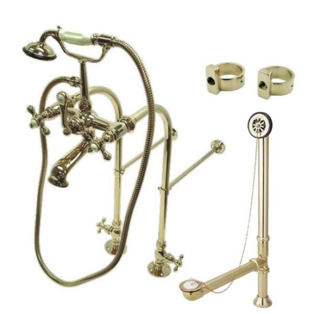 Kingston Brass Freestanding Combo Set 3 Handle Claw Foot Tub