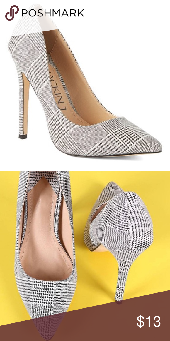75e59667dce Plaid pump Black and white material pointed toe pump. 4.5   heel. Price is  final! Shoes Heels