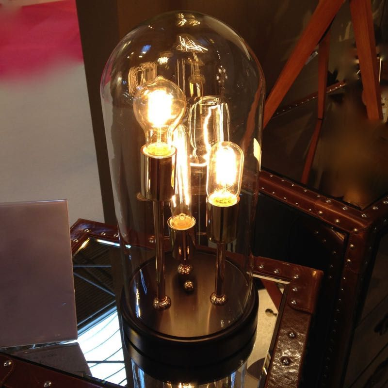 Volta Glass Dome Table Lamp 3 Filament Bulbs Living Rooms Table