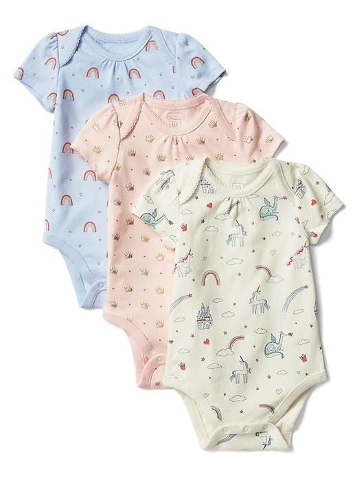10cd38804 Gap Baby Fairy Tale Bodysuit (3-Pack) Ivory Frost | Products in 2019 ...