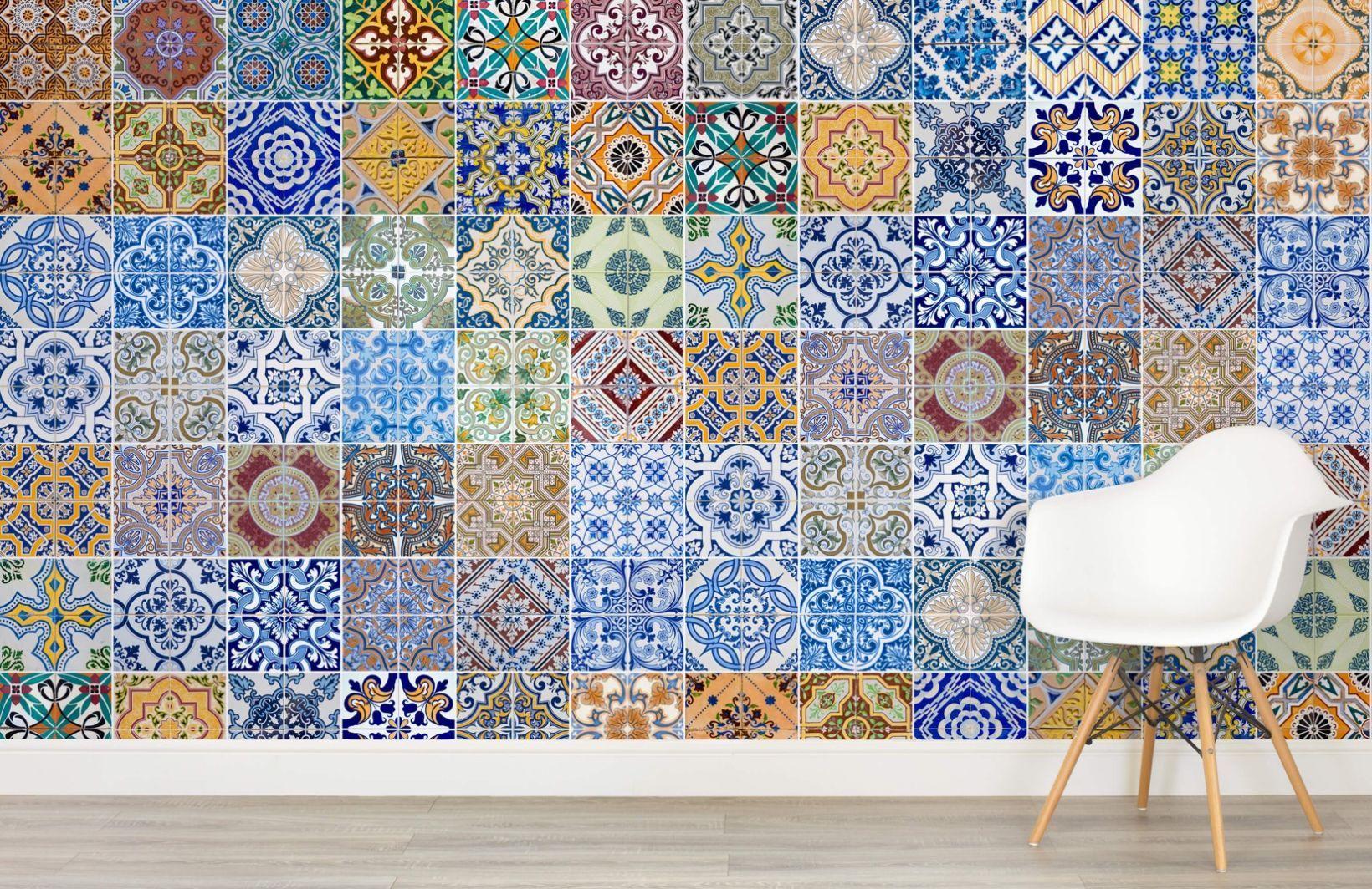 Patterned Tile Wallpaper Mural (With images) Tile