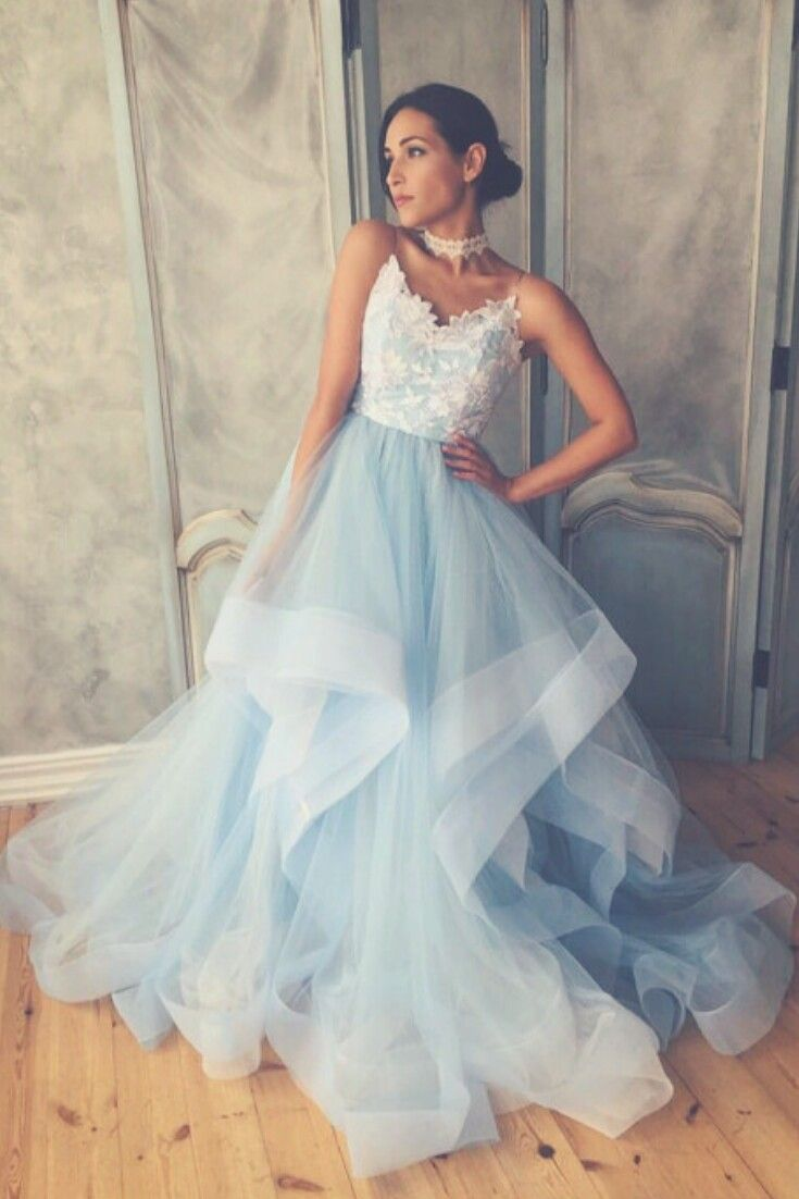 Unique blue wedding dress with ombre skirt open back and lace
