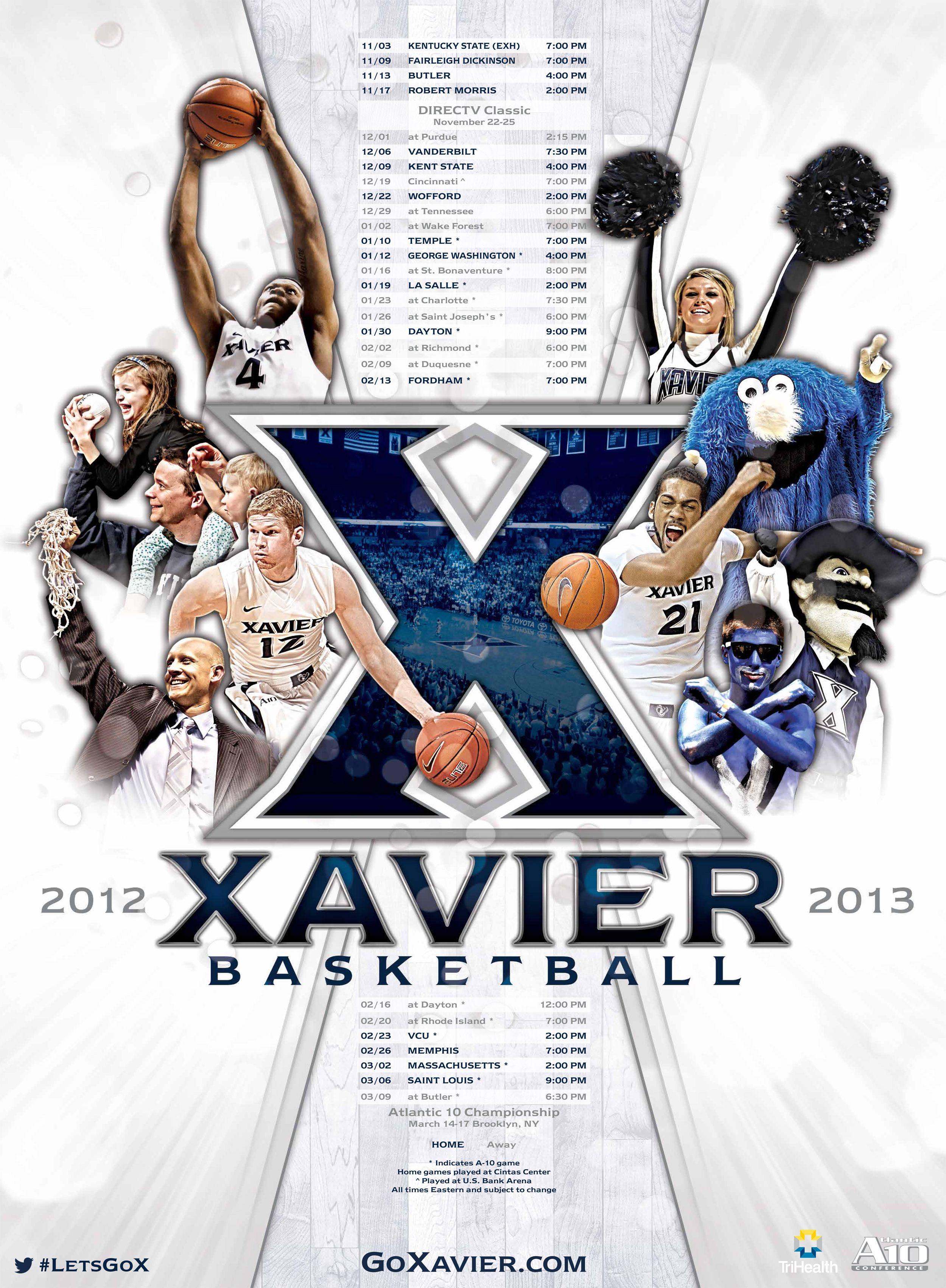 Xavier color printing - Xavier Men S Basketball Poster 2012 13