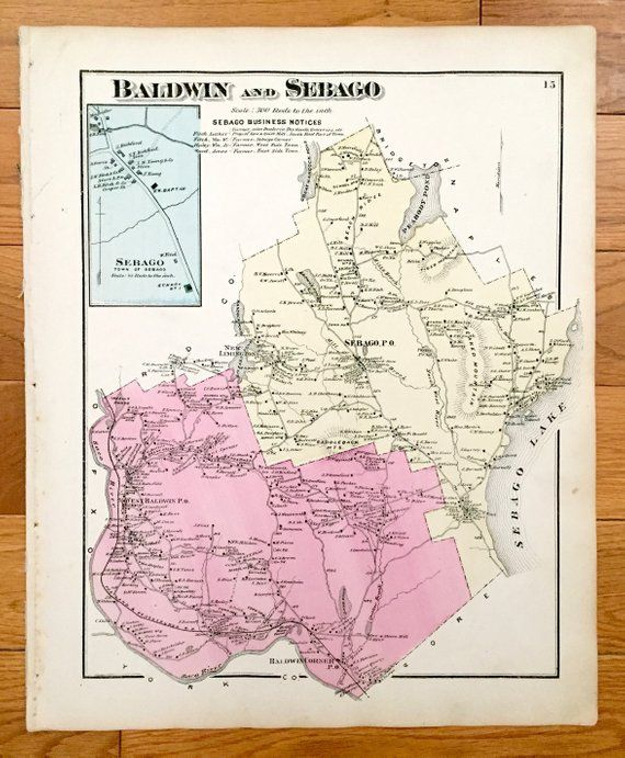Limington Maine Map.Antique 1871 Baldwin Sebago Maine Map From F W Beers Atlas Of