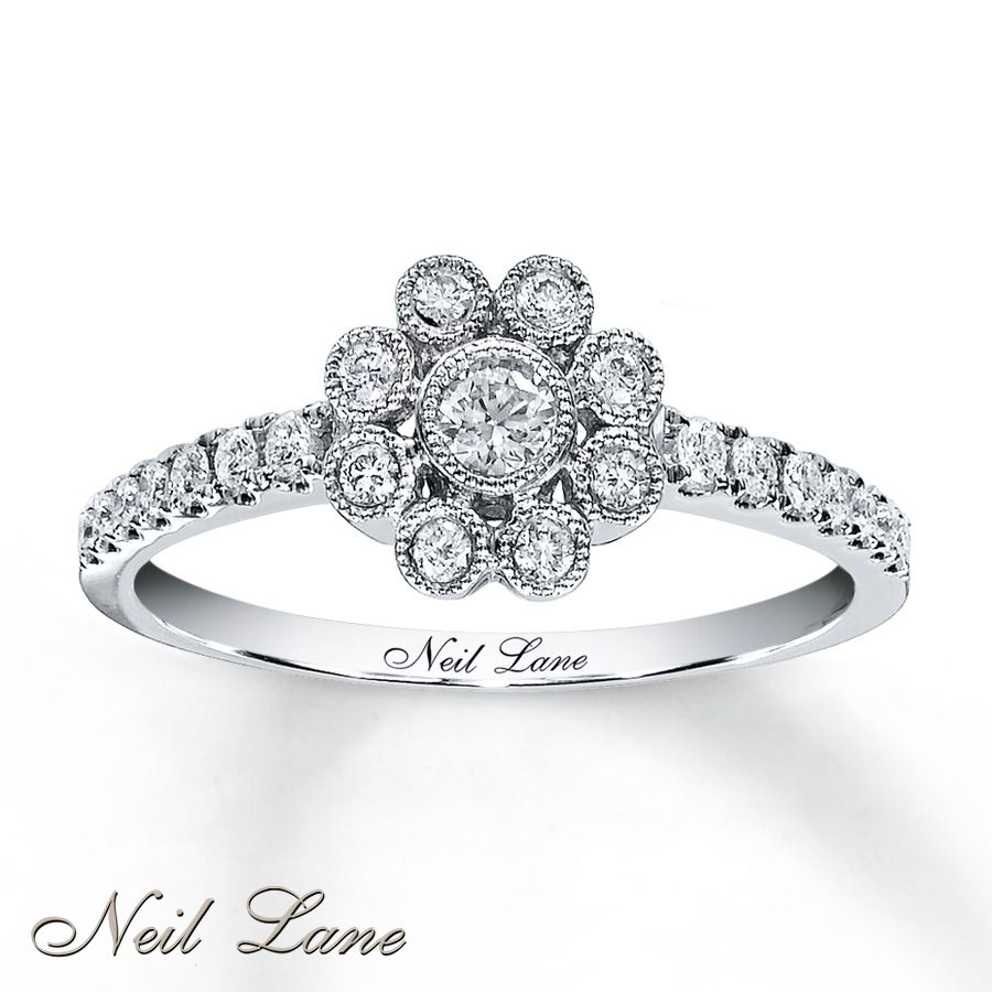 Kay Diamond Flower Ring 13 Ct Tw Round Cut 14k White Gold 900