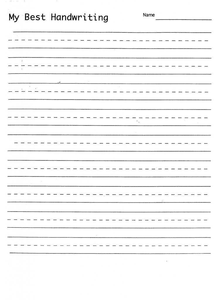 Blank Handwriting Worksheets for Kindergarten Printable