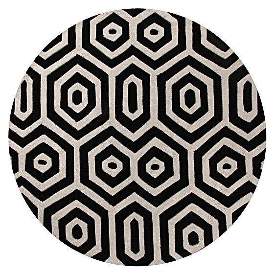 featuring a bold geometric motif realised in striking monochrome, 6' round modern rugs, contemporary round rugs uk, large round modern rugs