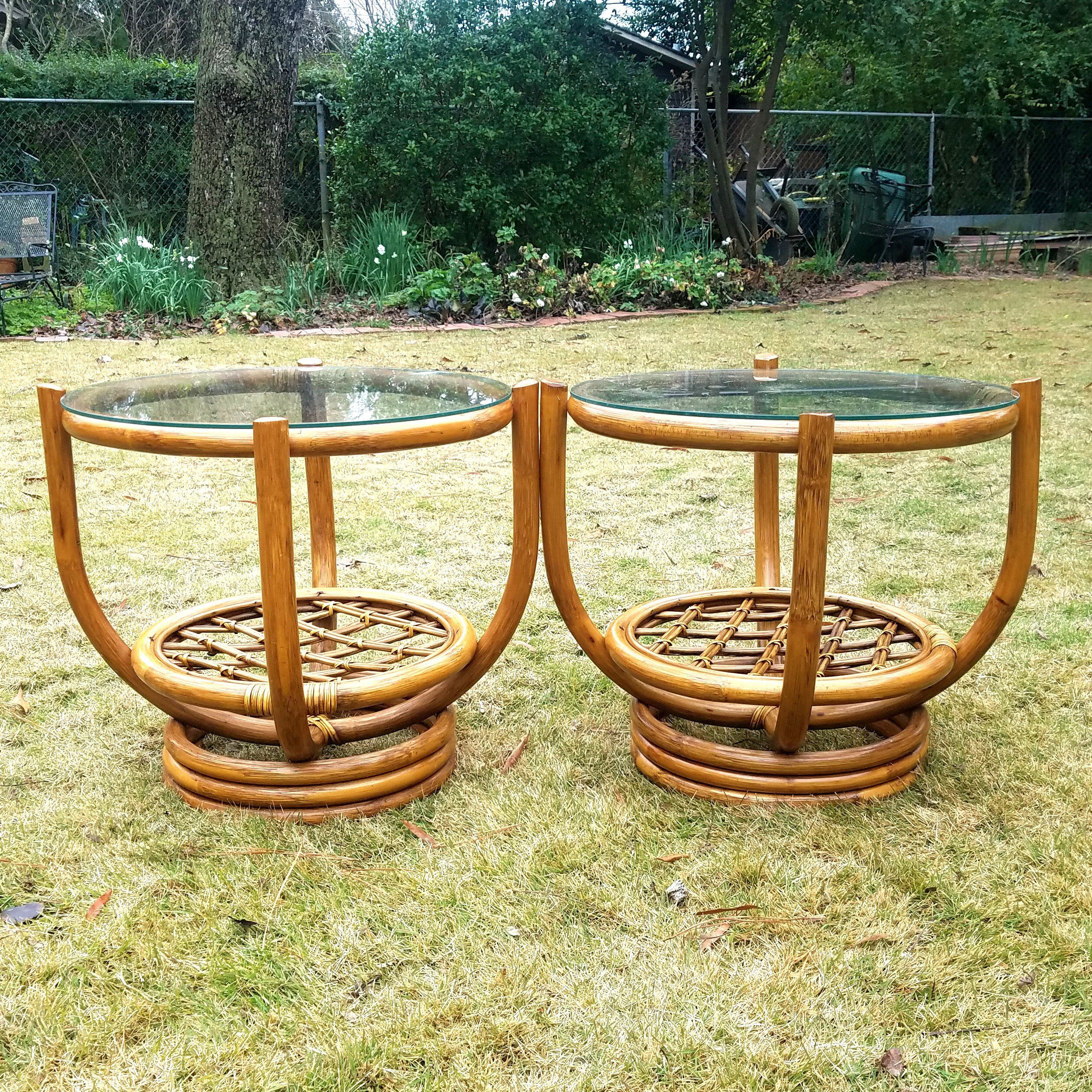 Pair Vintage Bamboo Side Tables Round Rattan End Tables Glass Tops Boho Occasional Tables Cane Bentwood Side Table Glass Top Glass Side Tables [ 2520 x 2520 Pixel ]