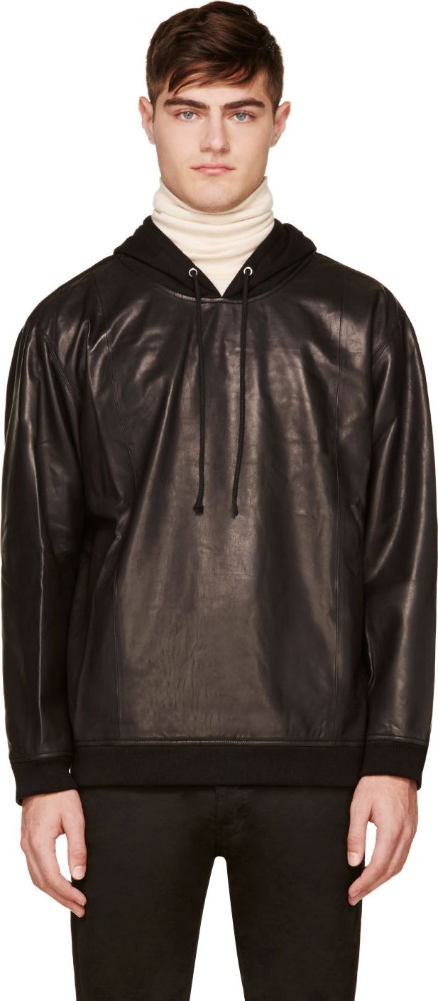 BLK DNM - Black Leather Hoodie