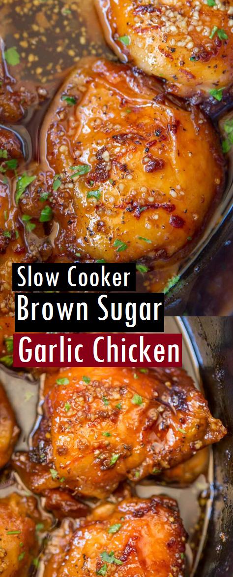 Slow Cooker Brown Sugar Garlic Chicken Recipe - Dessert & Cake Recipes #slowcookerrecipes