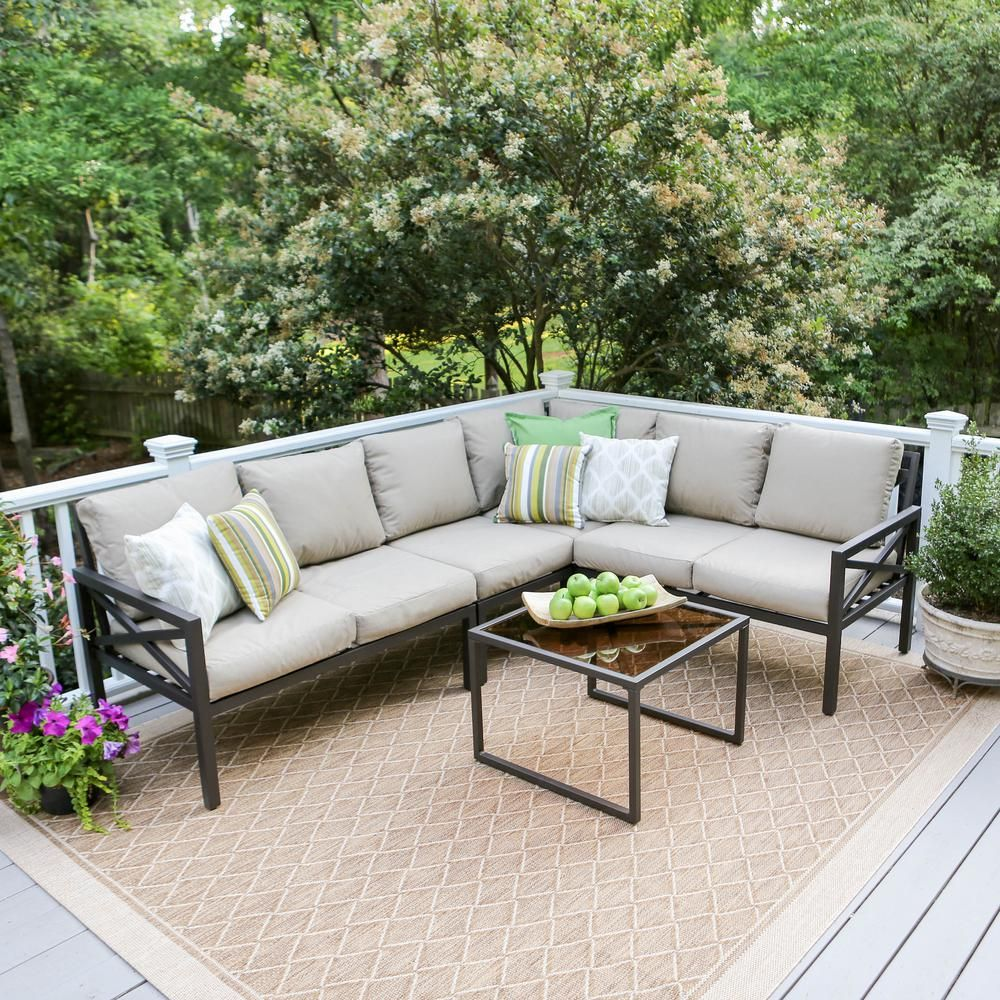 Leisure Made Blakely 5 Piece Aluminum Patio Sectional Set With Tan Cushions