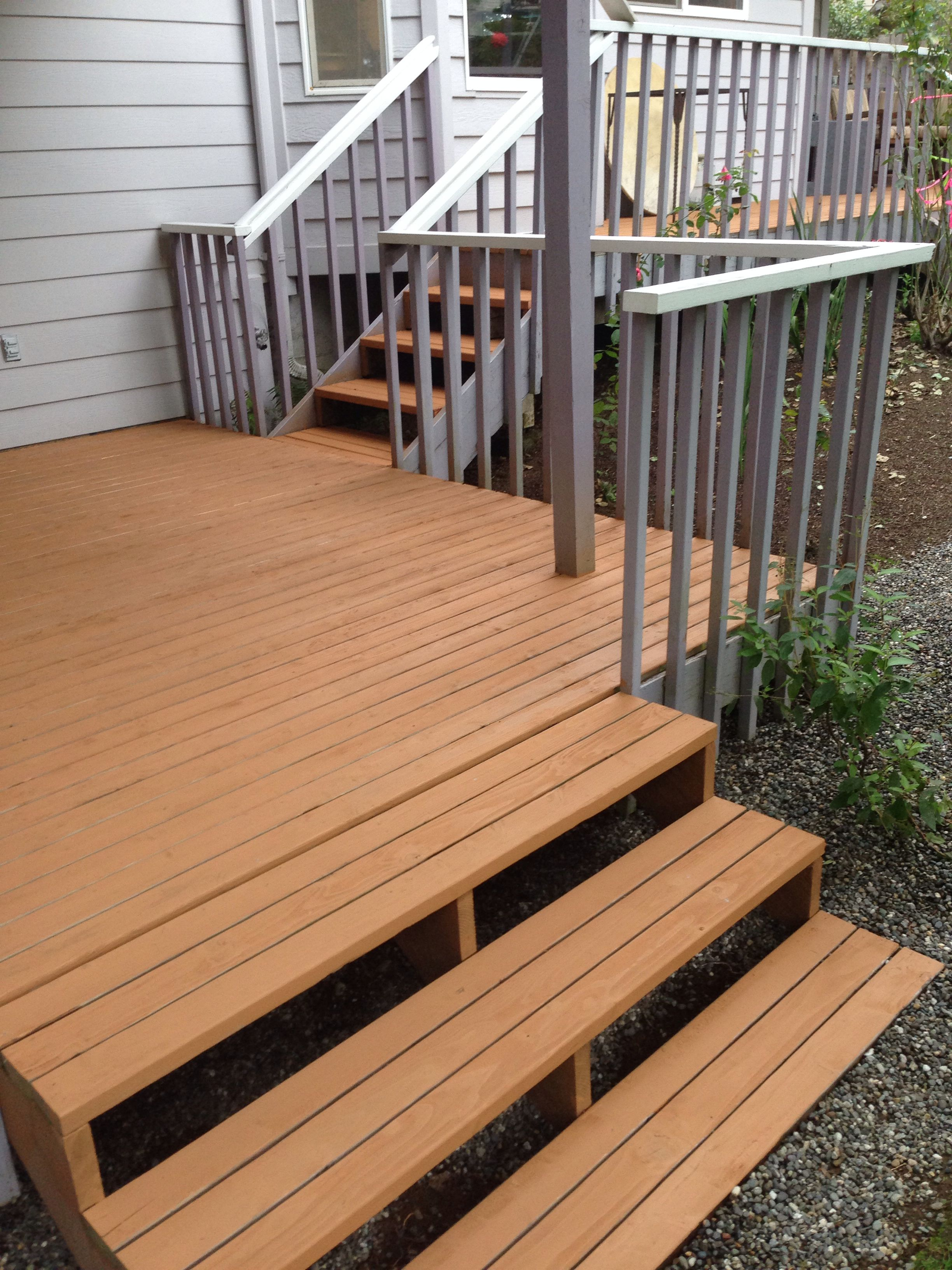 rob stained the deck using olympic max stain in cedar