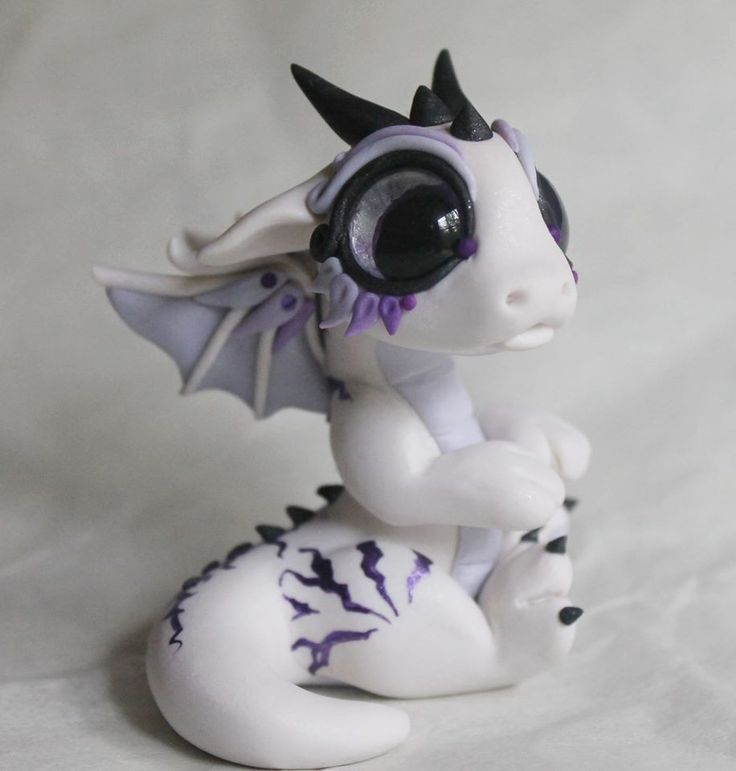 Cute White Dragon Figure   statue, made from polymer clay ...