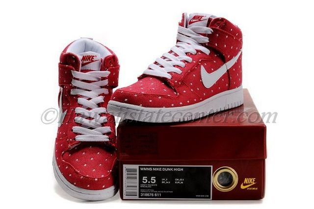 super popular 85d24 f91c8 Nike Air Force 1 High Femme Chaussures Rouge Blanc