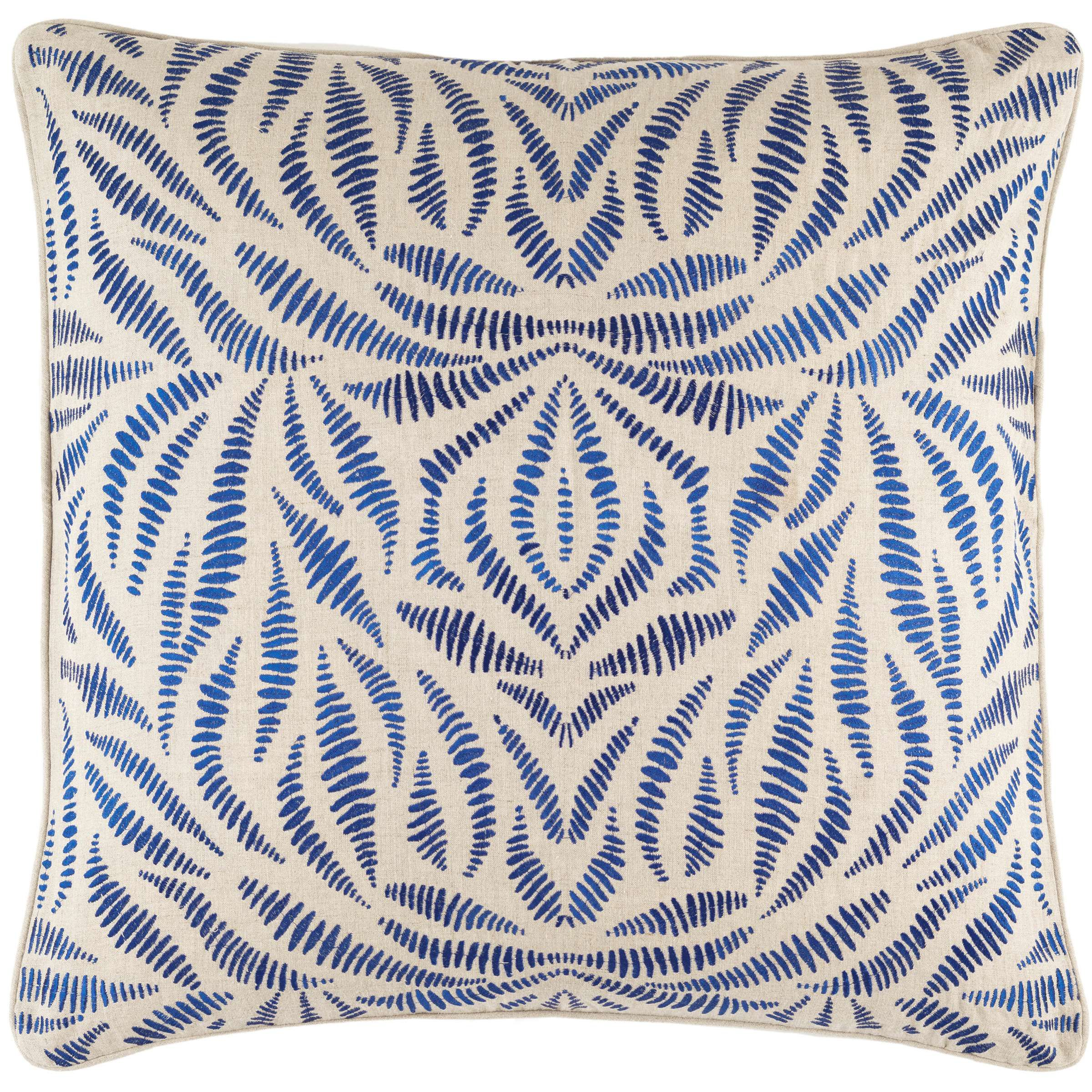 Fossil Embroidered Indigo Sham The Outlet Pillows Rustic Linen Pillow Sale
