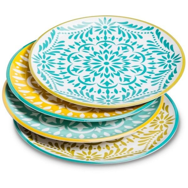 Mudhut Marika Dinner Plates Set of - Blue/Gold Multi-Colored ($15  sc 1 st  Pinterest : multi colored dinner plates - pezcame.com