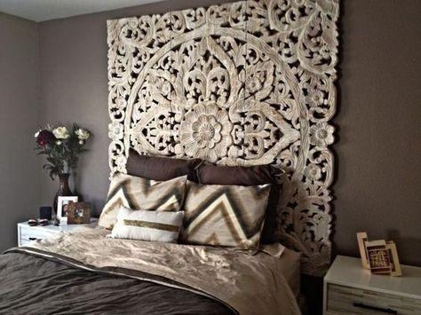 Decorative Mandala Bed Headboard 47 Sculpture Lotus Flower Wooden