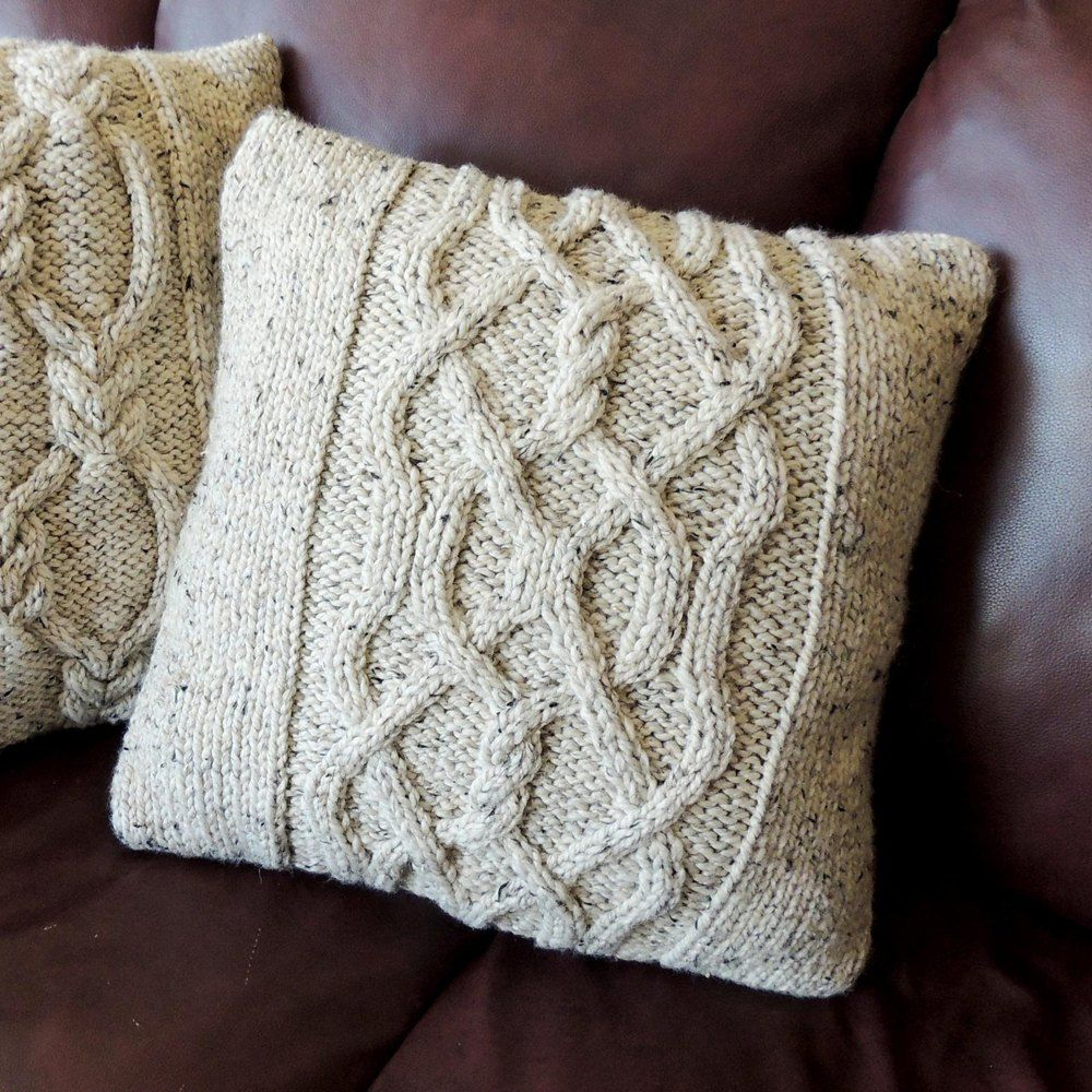 Twists And Cables Cushion Cover Knitting Pattern By Michelle Losier