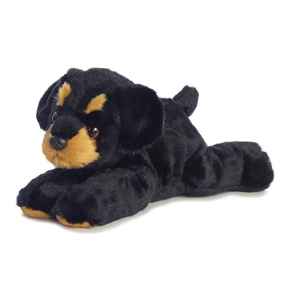 12 Black Rottweiler Puppy Dog Aurora Plush Flopsie Stuffed Animal