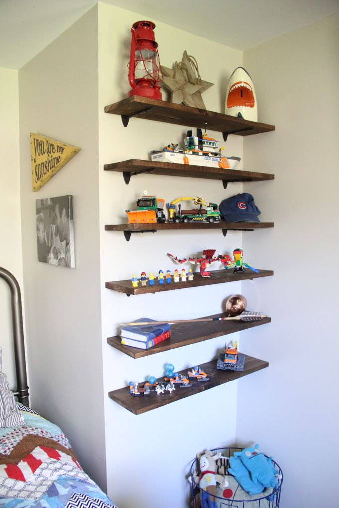 Diy floating lego shelves wood floating shelves wood for Bookcases for kids room