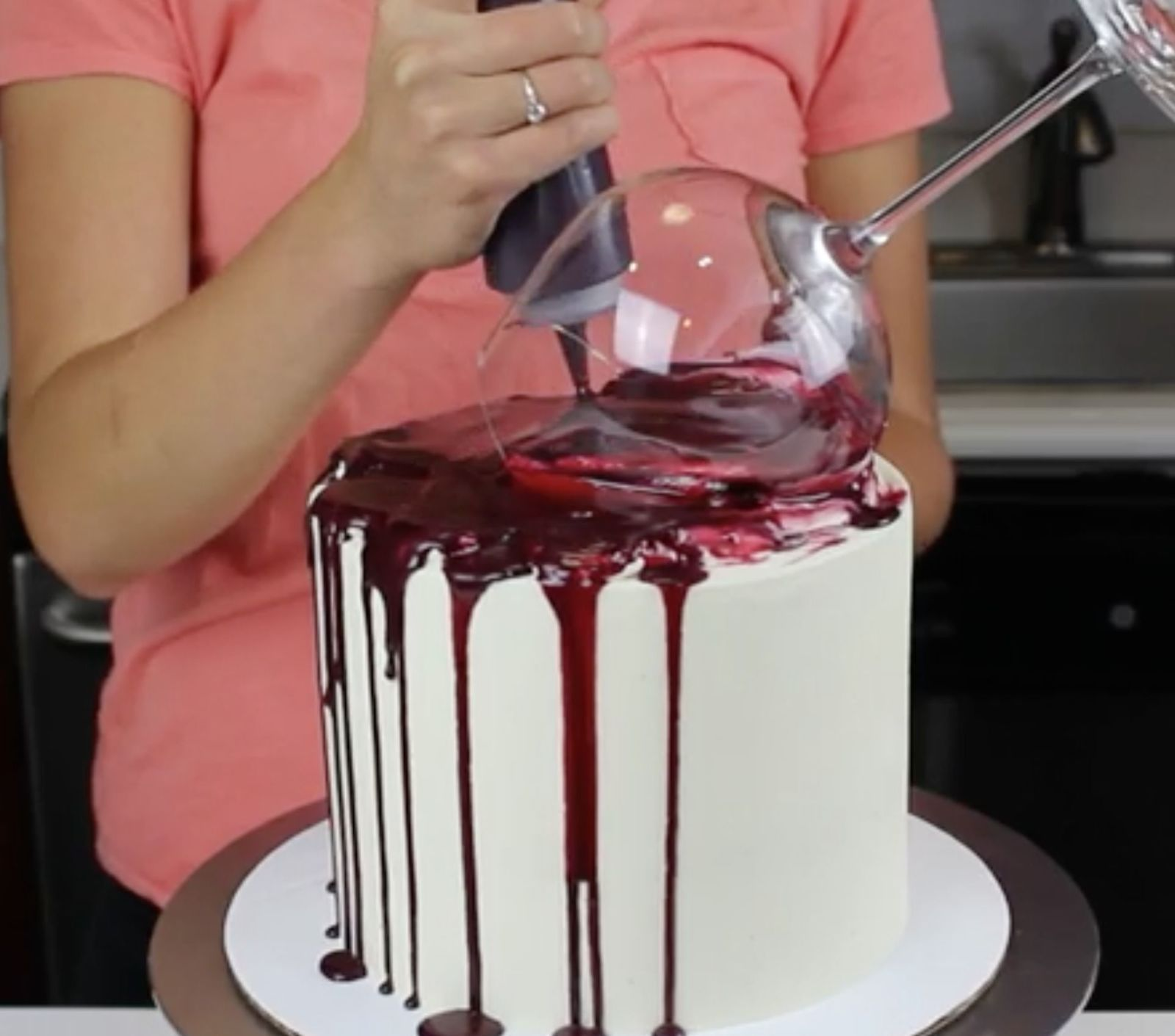 "This ""One Glass Too Many"" Wine Cake Just Gets Us  Birthday cake"