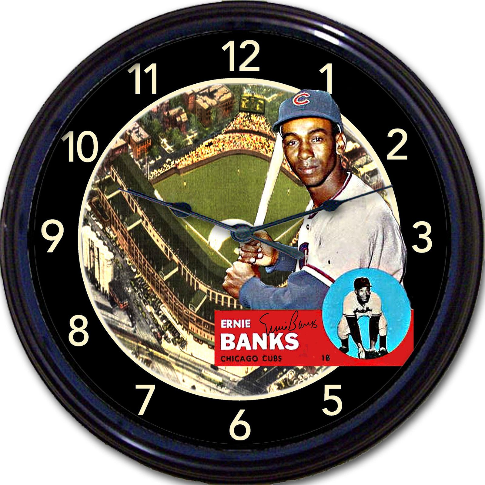 Ernie Banks Chicago Cubs Wrigley Field Baseball Card Wall Clock ...