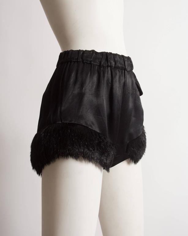 Vivienne Westwood black satin mini shorts with faux fur, circa 1991