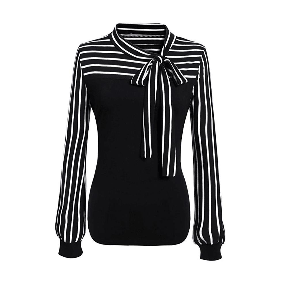 a7d96c9bf0845 Women Tie-Bow Neck Striped Long Sleeve Splicing Shirt Blouse Features  1.It
