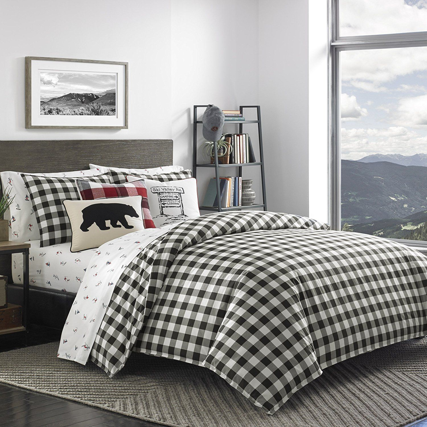 plaid comforter red for brown bedroom and corner with set leather bath fireplace decoration sets tufted your design headboard bed interesting faux comfortable