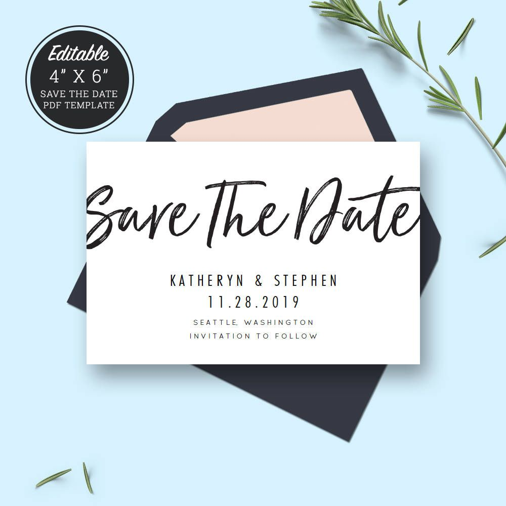 minimal wedding save the date card template download printable editable pdf wedding save the date calligraphy save date instant download by patposeh on