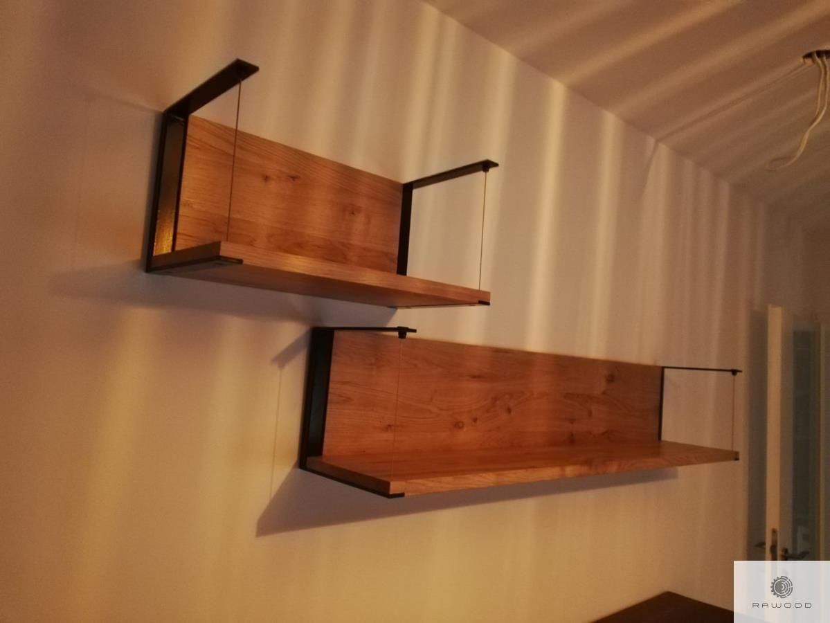 Półki ścienne Z Drewna Litego Z Elementami Szkła I Czarnej