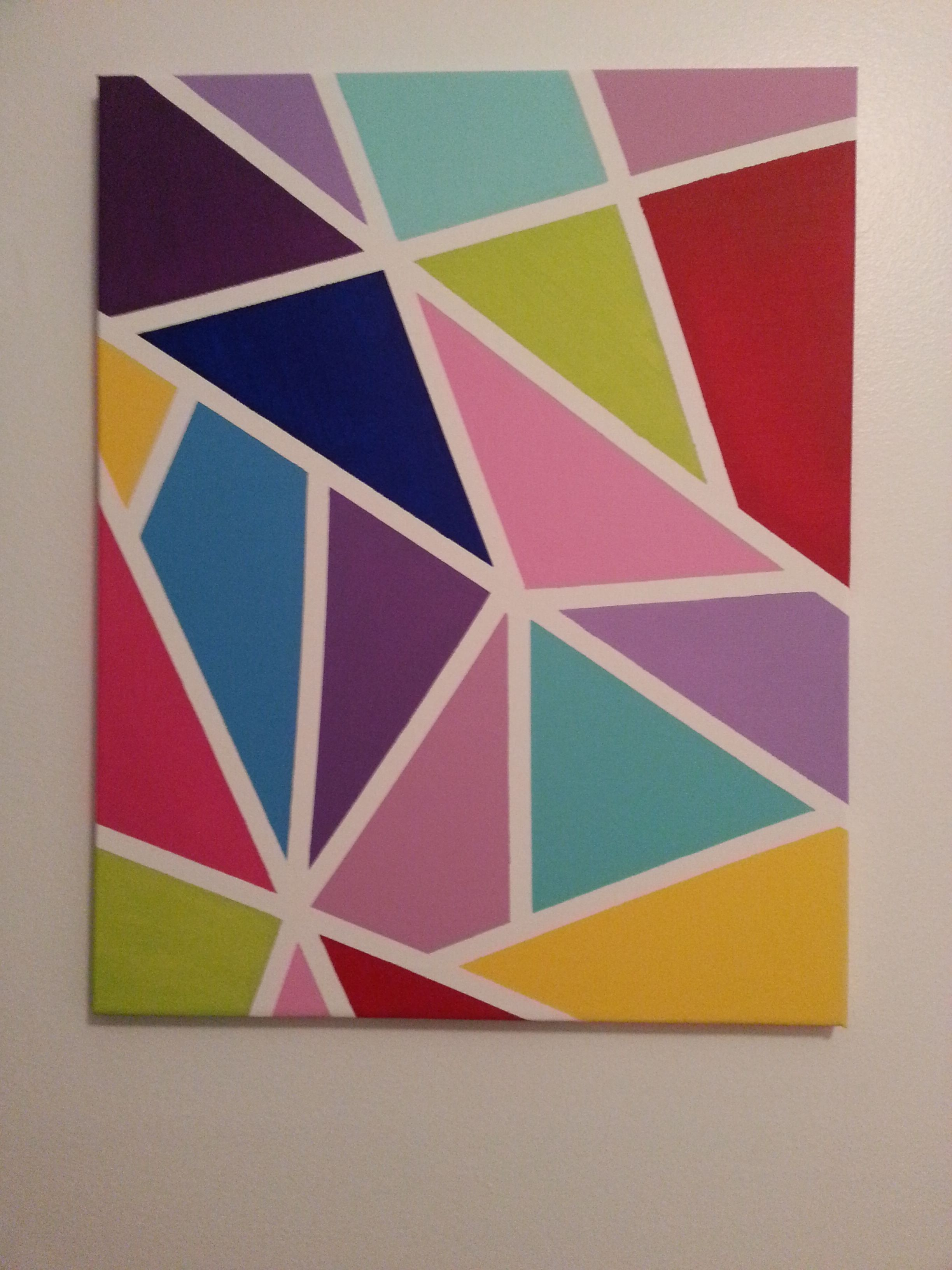Colorful Canvas Made With Masking Tape And Acrylic Paint Canvas Painting Diy Diy Canvas Wall Art Simple Canvas Paintings