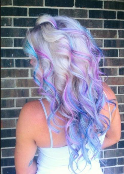Platinum With Purple Colorful Hair Pinterest Blue Green Hair