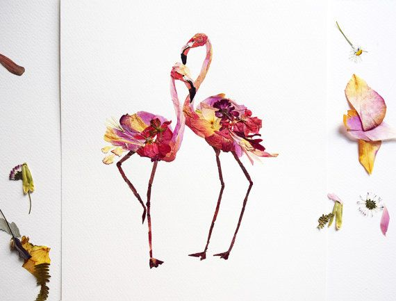 Flamingo Art Print Pressed Flower Art Dry Flower Arrangement Etsy Flower Art Pressed Flower Art Flamingo Art Print