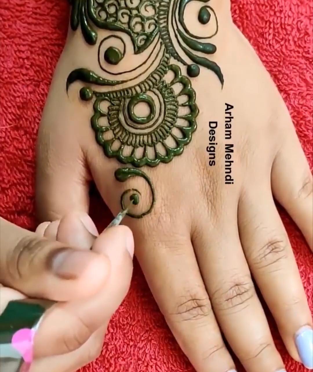 easy mehndi design back hand henna design video