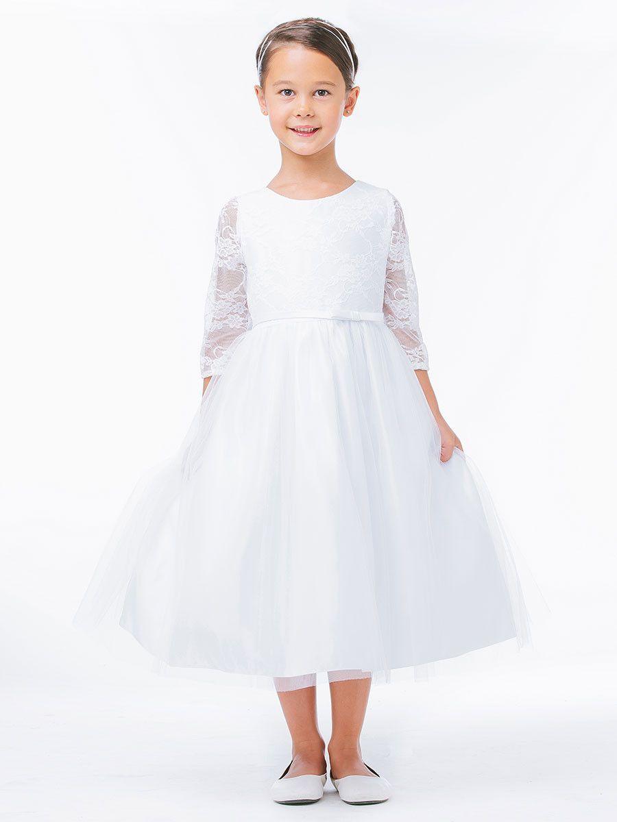 4395e6bb75e Elegant Lace Tulle Skirt Dress with 3 4 Sleeve