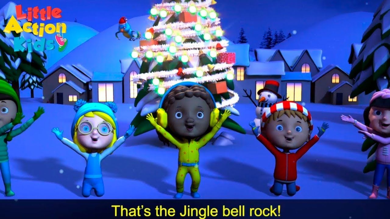 Jingle Bell Rock With Lyrics Christmas Songs And Carols Sing Dance A Jingle Bells Jingle Christmas Classroom