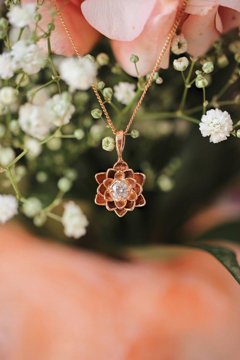 Gold lotus flower pendant moissanite pendant flower