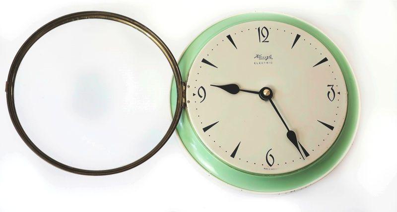 Vtg 50s 60s Kienzle Enamel Tin Plate Pale Green Wall Clock