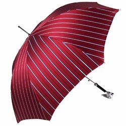 Pasotti Italian Umbrella Rich Burgundy Pinstripe with Silver Lion Head Handle. For gentlemen.