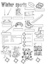 english worksheet winter sports spelling pinterest winter sports and worksheets. Black Bedroom Furniture Sets. Home Design Ideas