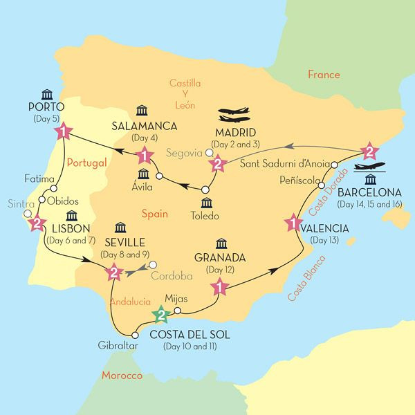 Travel Map Of Spain And Portugal.Insight Vacations 16 Days 3000 Best Of Spain And Portugal