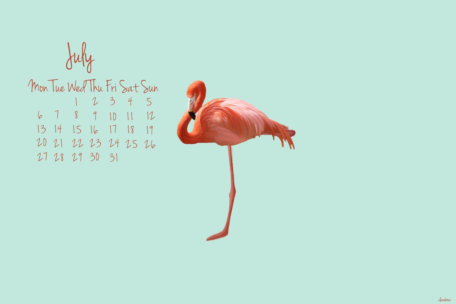 Freebie Wallpaper (Juli) Flamingos, Free und Kostenlos