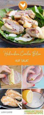 Köstliches kohlenhydratarmes Hühnchen-Cordon Bleu auf Salat   - All about Low Carb & Fitness - #auf...