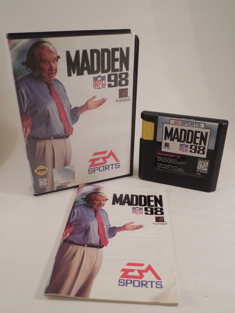 Madden 98 Sega Genesis Cartridge With Case Instruction Book Works