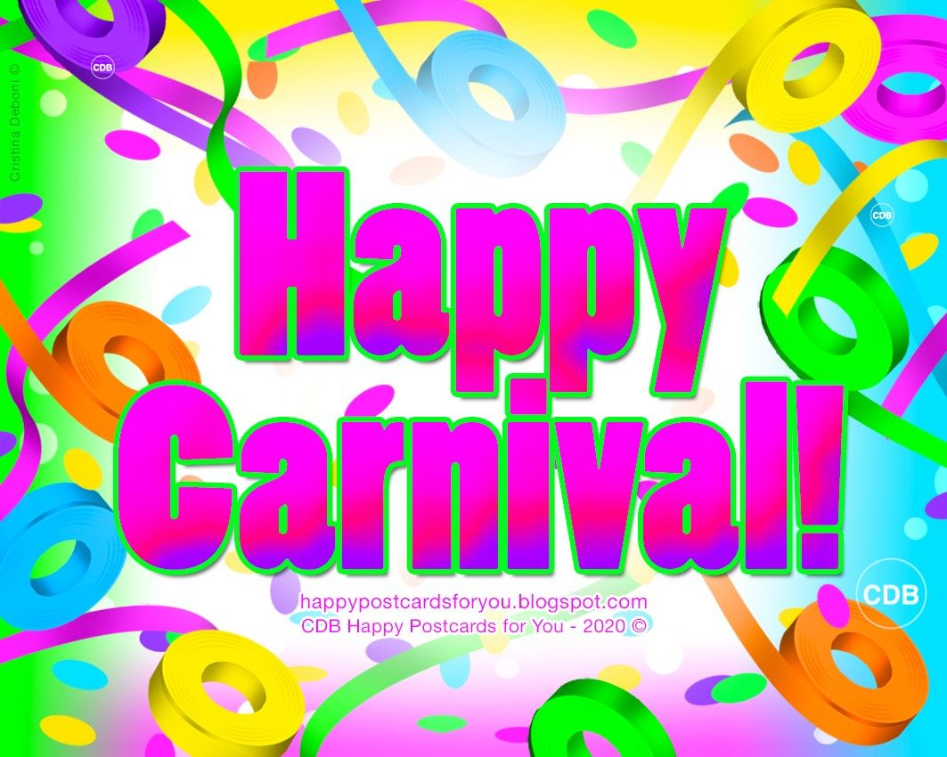 Greeting Card Happy Carnival February 2020 Streamers And