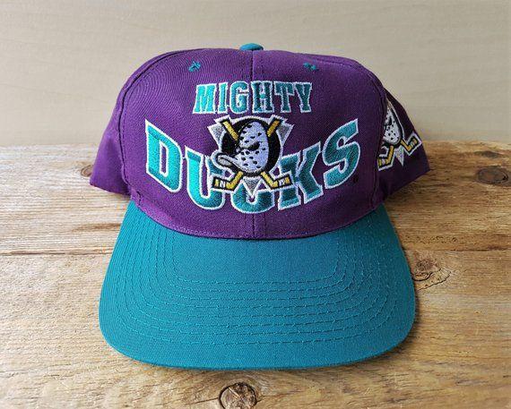 super popular acdd2 46c72 Vintage 90s Mighty DUCKS of Anaheim Snapback Hat Official NHL G Cap  Adjustable 2 Toned Disney Ice Hockey Team Block Letters Original Ballcap