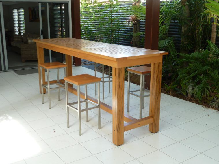Awesome Long Narrow Rectangle Alfresco Dining Table Feat Four Metal Backless  Outside Bar Stools With Square Wooden